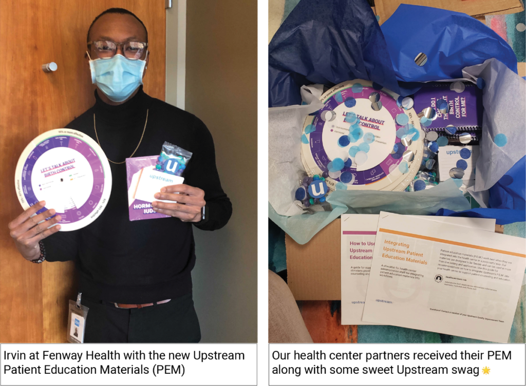 Left: Irvin at Fenway Health with the new Patient Education materials. Right: Our health center partners received their PEM along with some sweet Upstream swag.